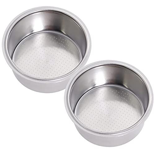 51mm Filter Basket, Compatible with Breville,Delonghi Espresso Machine, Stainless Steel Espresso Filter Basket, Single Wall Non-pressurized Porous Portafilter, 2 Pack