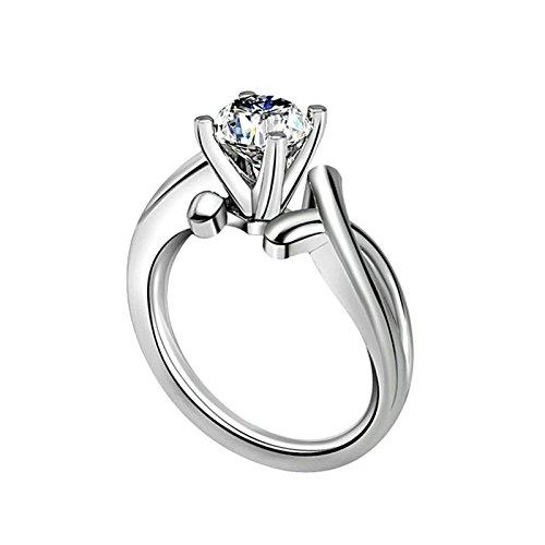 Beydodo Anelli Argento 925 Zirconi Donna Anelli da Donna Fidanzamento con Rotonda Brillante Diamante Taglia 10-27