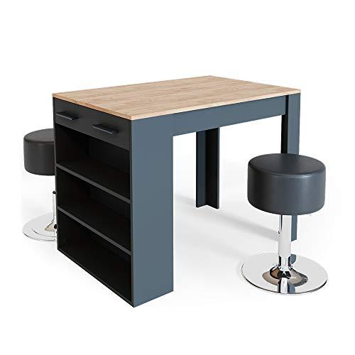 Vicco Bartisch Esstisch Tisch Bistrotisch Essplatz Schublade Regal Bar Weiß wahlweise mit Barhocker (Anthrazit-Goldkraft mit Barhocker)
