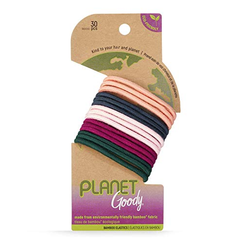 Goody Planet GoodyOuchlessElastic Thick Hair Tie - 30 Count, Mixed- Medium Hair to Thick Hair - Bamboo Elastic and Eco-Friendly Fabric Hair Accessories forWomen and Girls