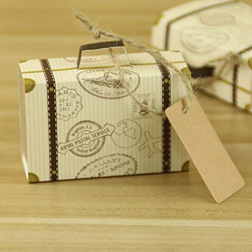 WZGGZWGG 50pcs Vintage Suitcase Wedding Favors Gift Boxes Mini Packaging Box Candy Gift Boxes Wedding Party Decorations (Gift Bag Size : 20pcs, Size : Free)