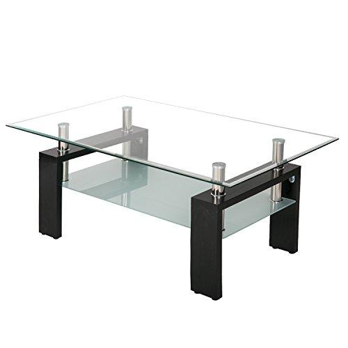 Merax Coffee Table Tempered Glass Living Room Table Black Modern Rectangular Tea Table 100 x 60 x 45 cm (White)