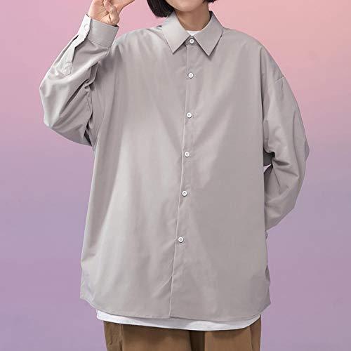 CDDKJDS Koszula Z Długim Rękawem Kobiety Biały Skręć Kołnierz Podstawowy Casual Oversize Shirt Kobiety Luźna Bluzka (Color : Grey, Size : XL (75-85KG))