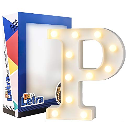 DON LETRA Letras Luminosas Decorativas con Luces LED, Letras del Alfabeto A-Z, Altura de 22cm, Color Blanco - Letra P