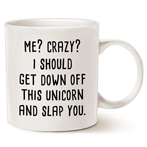 N/ A Funny Me Crazy Debería Bajar de Este Unicornio y abofetearlo Taza de café Taza de té Novedad Unicornio Tazas Tazas Regalos de cumpleaños