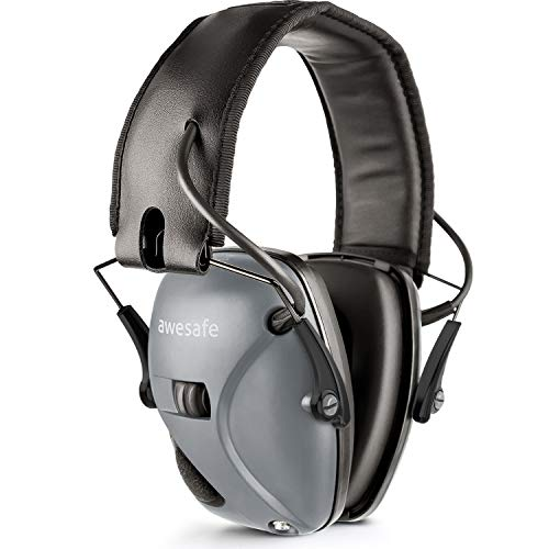 awesafe Electronic Shooting Earmuff, Noise Reduction Sound Amplification Electronic Safety Ear Muffs, Ear Protection, NRR 22 dB, Ideal for Shooting and Hunting, Grey