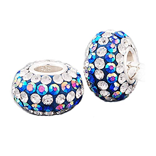 Andante-Stones 925 Sterling Silber Kristall Bead Charm ** Blue Princess ** schillernd blau und weiß Element Kugel für European Beads Modul Armband + Organzasäckchen