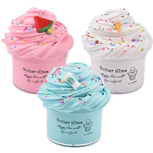 Slime Kit with 3 Pack Butter Slime,Pink Watermelon,White Ice Cream and Ocean Coffee,Scented Slime Kit for Girls and Boys ,Super Soft and Non Sticky DIY Surprise Slime