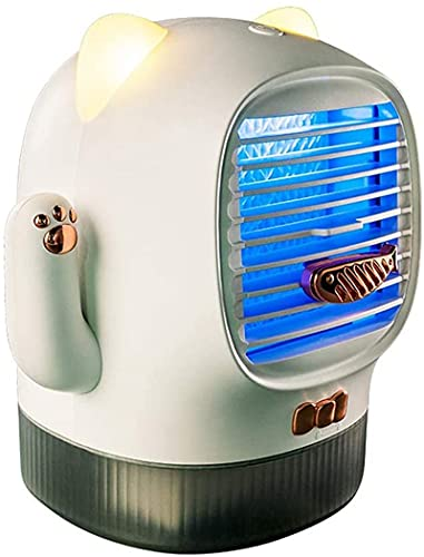Enfriador De Aire, Enfriadores Evaporativos Mini Enfriador De Aire, Ventilador De Aire Acondicionado De Enfriamiento Personal Portátil USB con Humidificador Luz Nocturna LED