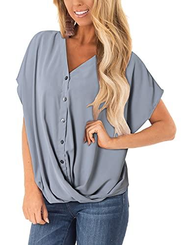 YOINS damska bluzka na lato, z krótkim rękawem, luźna bluzka koszula, styl casual, guziki, tunika, przód