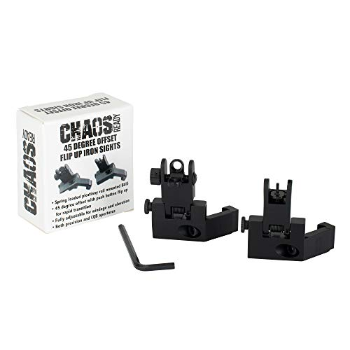 Chaos Ready 45 Degree Iron Sights | Flip Up Offset Iron Sights for Rifle | Front and Rear Angled Backup Canted Iron Sight | BUIS Aluminum Tactical Set for Picatinny or Weaver Rail