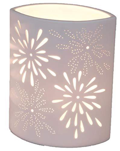 Moderne Tischlampe Oval 18x23 cm Serie Aurea Blume | Tischleuchte mit Energieklasse A+ | Nachttisch Lampe