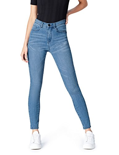 Marca Amazon - find.. Vaqueros Ceñidos de Tiro Alto Mujer, Azul (Light Wash), 34W / 32L, Label: 34W / 32L