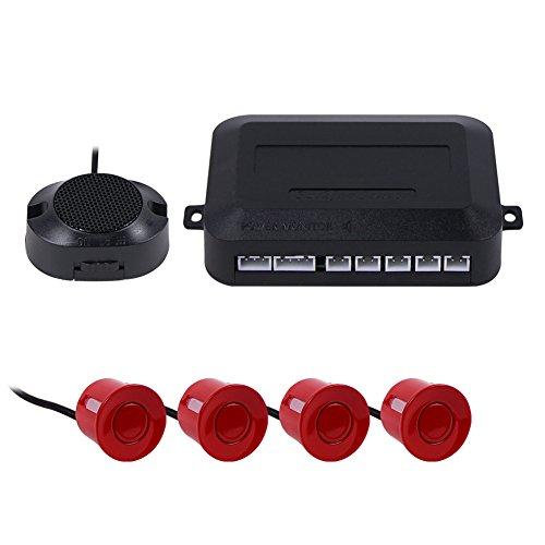 Teckey LED Sensor de Aparcamiento Exhibición de 4 sensores 12V Radar Monitor Sistema para Todos los Coches - Rojo