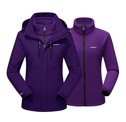EKLENTSON Damen Jacke Winter Wandern Outdoor 3-in-1 Winterjacke Schnee Gefüttert mit Abnehmbarer Kapuze Dunkellila Purple, 2XL