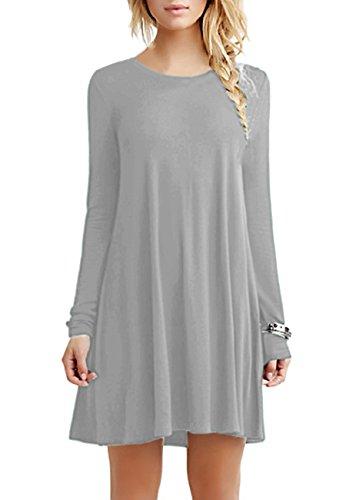 OMZIN Damen Long Sleeves Tunika Top T-Shirt Kleid für Party Hellgrau 4XL