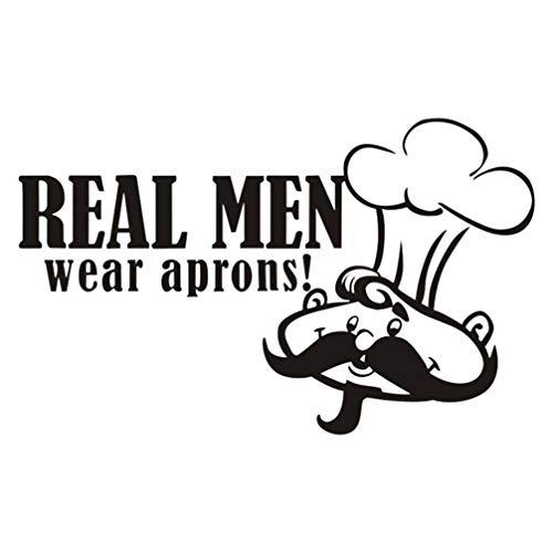 Vosarea Echte mannen dragen schort muur Sticker Keuken Cartoon Humor Chef Citaten Tegel Kunsten Decal Wallpaper Peel en Stick voor Keuken Restaurant Decoratie