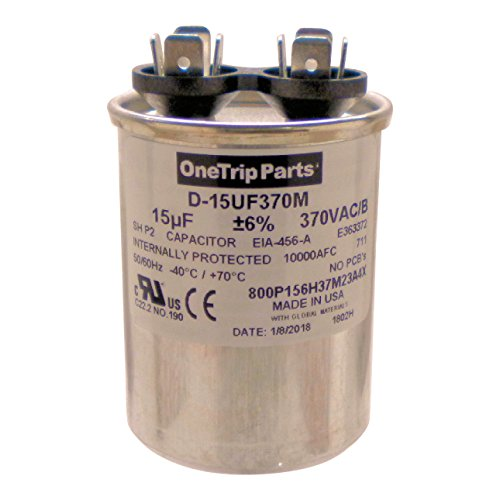 OneTrip Parts USA Run Capacitor 15 UF - 15 MFD 370 VAC Round