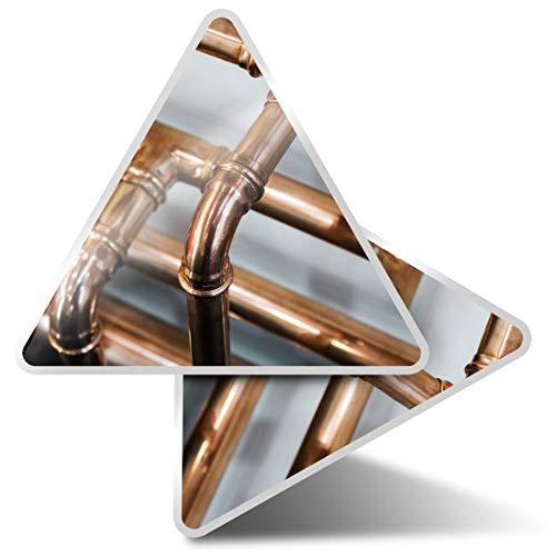 2 pegatinas triangulares de 10 cm, tubos de cobre, fontanero, calefacción, divertidos adhesivos para ordenadores portátiles, tabletas, equipaje, reserva de chatarra, neveras #21393