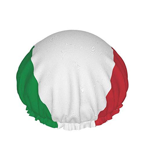 Gorro de ducha de la bandera italiana ajustable doble capa impermeable gorro de ducha protección del pelo