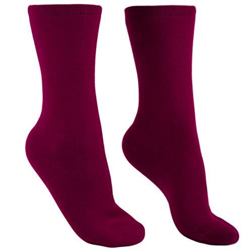 100% Cashmere Socks for Men - Pure Cashmere Socks for Men (Burgundy, L)