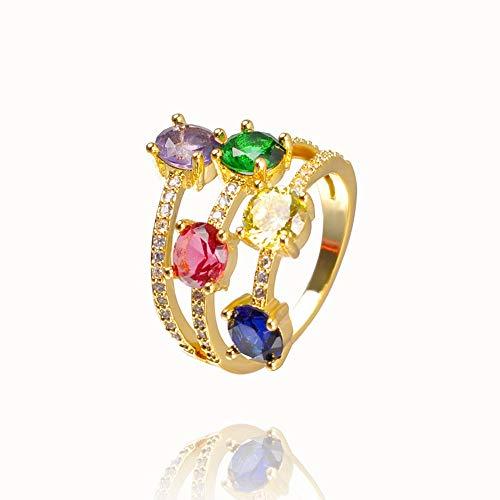 QWERTYU Dropshipping - Anillo de cristal arco iris para mujer, joyería de oro con circonita cúbica y anillo inicial para regalo LIJIANME (color: RA001 1, ringgrootte: 7)