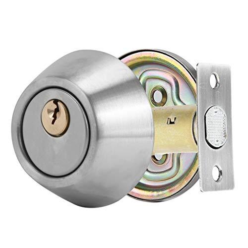 Cerradura de cilindro simple, cerradura de puerta de dormitorio antirrobo, construcción de acero inoxidable 304, con revestimiento multicapa, para puertas antirrobo/de metal/de madera(Plata)