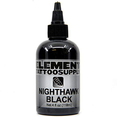 Element Tattoo Supply Black Tattoo Ink Outlines Lining Shading Coloring Tattoos Nighthawk 4 oz Bottle