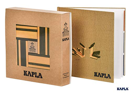 KAPLA JL+JP Holzplättchen, 40er Box, 20 gelb und 20 grün + Buch