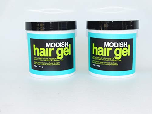 MODISH Hair Gel, Strong Hold with Argan Oil, Alcohol FREE, (Set of 2) 16.oz