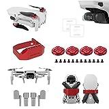 Tineer para DJI Mavic Mini Drone accesorios - Película protectora de la lente + Clip de paleta de fijación de bloqueo de hélice + Tren de aterrizaje extendido + Tapa del motor a prueba de polvo (Rojo)