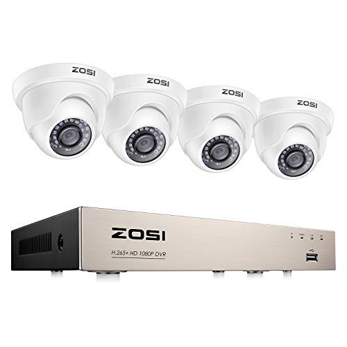 ZOSI 1080P Kit de Cámaras Seguridad 8CH H.265+ Videograbador DVR + (4) Cámara de Vigilancia Exterior, Visión Nocturna, Detección de Movimiento, Remoto P2P, sin Disco Duro