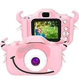 SoloKing Cámara para Niños,Video Cámara Infantil con 12 Megapíxeles,Doble Lente,Pantalla LCD de 2.0 Pulgadas,Video HD de 1080P,32GB Tarjeta de Memoria Incluida (Rosa)