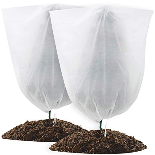 Cufasay 2 Pack Winter Drawstring Plant Covers, 23.6 x 31.5 Inch Warm Plant Freeze Protection Cover Blanket Jacket for Outdoor Potted Plants Shrub and Fruit Trees for Winter