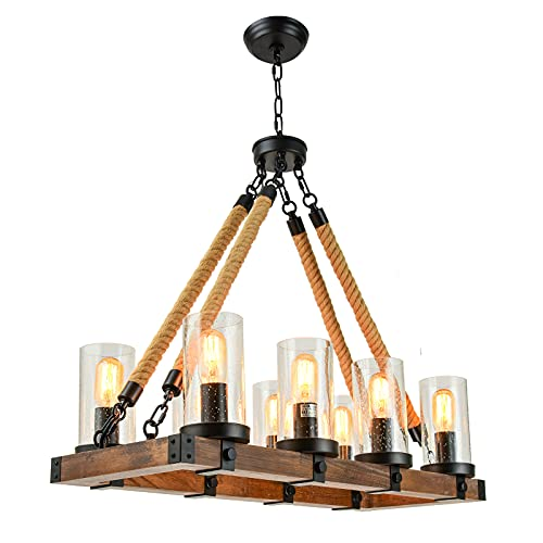 8-Lights Farmhouse Chandelier UL Standard, Rustic Wood Kitchen Island Light Dining Room, Industrial Hanging Ceiling Pendant Lighting Fixture Rectangle with Hemp Rope Seeded Glass Shades Bedroom Living