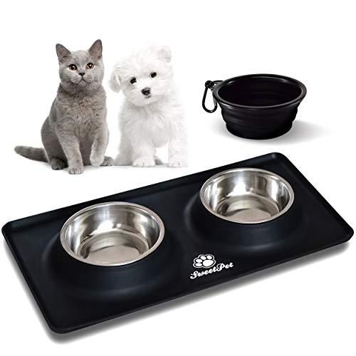Futternapf Fressnapf für Hund und Katze Hundenapf Katzennapf aus Edelstahl mit Premium Silikon Unterlage Faltbarer Reise Napf Schwarz