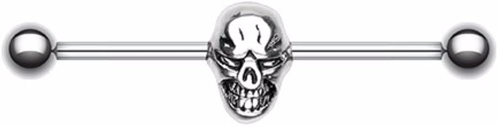 Skull Fury 316L Surgical Steel WildKlass Industrial Barbell