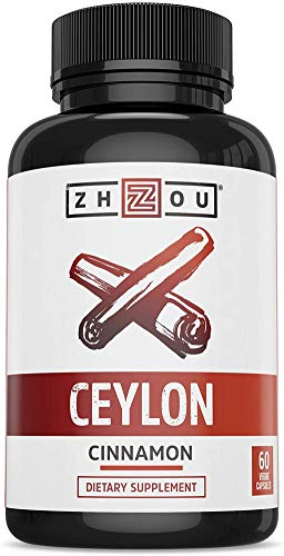 Zhou Ceylon Cinnamon | Supports Blood Sugar, Heart Health and Joint Mobility | True Cinnamon Native to Sri Lanka | 30 Servings, 60 CT