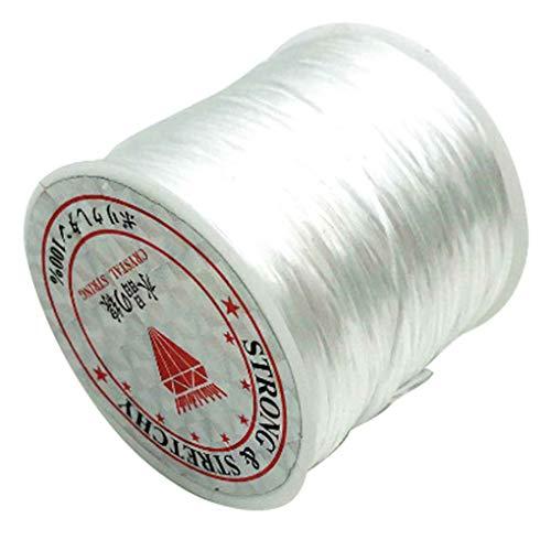 YYDS 2 piezas de 60 m/rollo de hilo de abalorios para hacer joyas, cordón elástico de cuentas DIY hilo para pulsera pulsera collar tobillera, color blanco