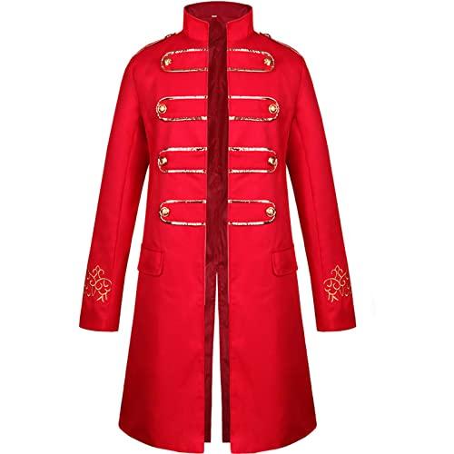 CNLINAHOME Abrigo para Hombres Halloween Medieval Steampunk Bordado Ropa De Hombres Abrigo Largo Abrigo Traje Red-XL