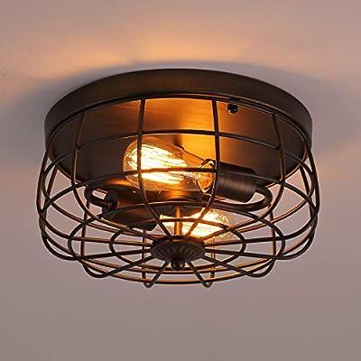 Q&S Farmhouse Hallway Light Fixtures Ceiling,ORB+Bronze,Vintage Cage Mid Century Flush Mount Industrial Ceiling Light Fixture for Garage Gazebo Locker Entryway Bedroom,Dining Room.2 Lights