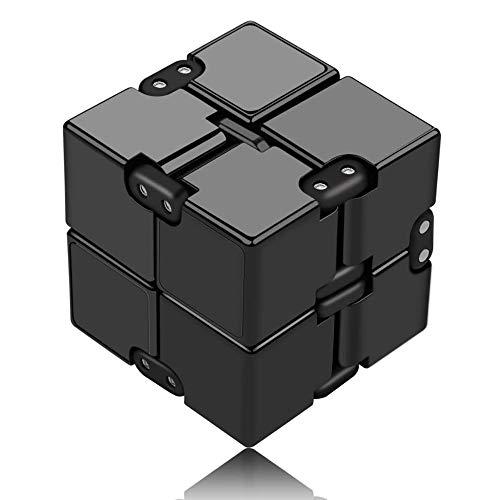 Funxim Infinity Cube Toy per Adulti e Bambini, Nuova Versione Fidget Finger Toy Sollievo dallo Stress e ansia, Killing Time Fidget Toys Cubo Infinito per Il Personale dell ufficio (Nero)