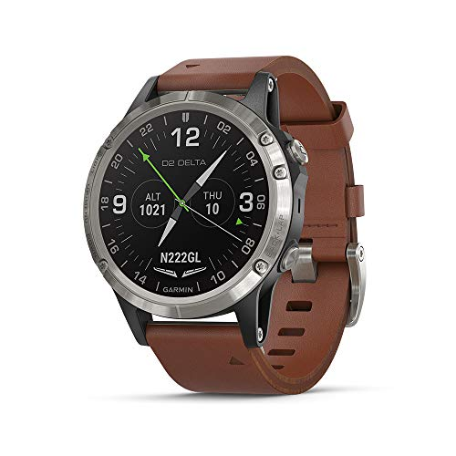 Garmin D2 Delta, GPS Pilot Watch, Includes Smartwatch features, Heart Rate and Music, Titanium with Brown...