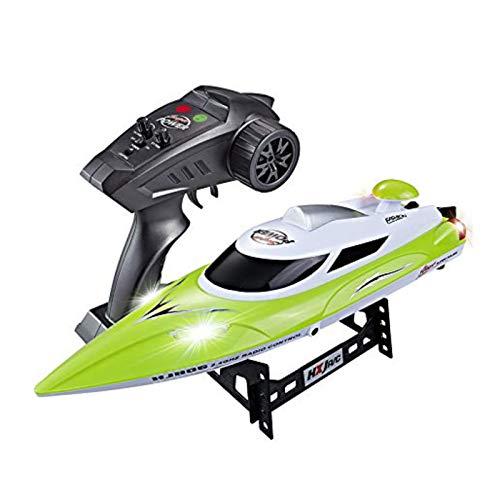 HONGXUNJIE Ferngesteuerte Boote für Pools und Seen - RC-Rennboot 2,4 GHz, hohe Geschwindigkeit, 35 km/h, 180-Grad-Auto-Flip-Recovery (200 m, 15 bis 20 min) (Grün) (Grün)