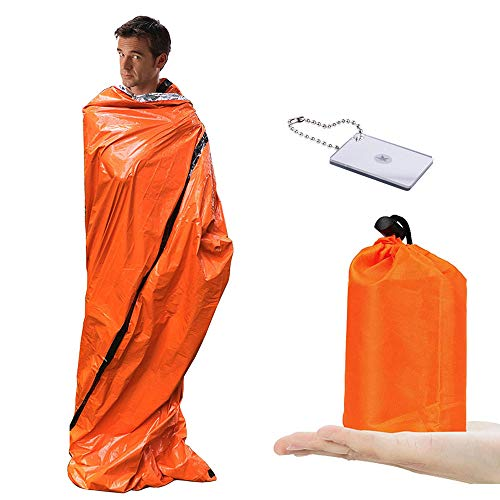 YeenGreen Saco de Emergencia Dormir, 2 Saco de Supervivencia Vivac + 1 Espejo de Supervivencia, Mantas Termica de Aluminio para Senderismo al Aire Libre Camping