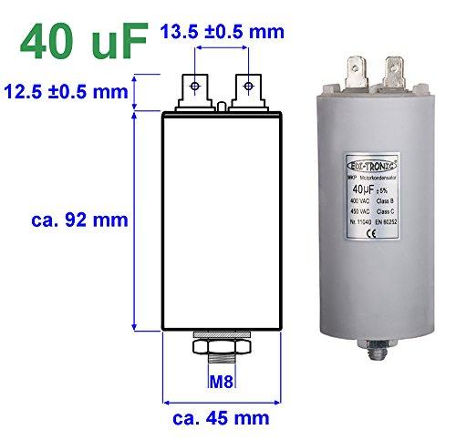 Kondensator Anlaufkondensator Motorkondensator Arbeitskondensator MKP 40µF 450V