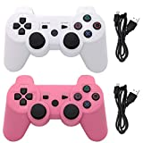 Ceozon PS3 Controller Wireless Playstation 3 Controller Bluetooth Gamepad Compatible for 2 Pack Sony PS3 Controller Wireless Remote Joystick with Charging Cables White and Pink