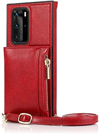 SLDiann Case for Huawei P40, Zipper Wallet Case with Credit Card Holder/Crossbody Long Lanyard, Shockproof Leather TPU Case Cover for Huawei P40 (Color : Red)