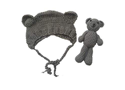 Matissa Neugeborenes Baby häkeln Strick Kostüm Fotografie Prop Baby Bär Hut und Puppe Set (Grau)