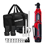 """Cordless Electric Ratchet Wrench, KINGNOVA 3/8"""" 40 ft-lbs 12V Power Ratchet Wrench Kit With 2-Pack 2.0Ah batteries and 60-Min Fast Charge, Variable Speed Trigger, 16PCS Accessories with Extended Bars"""